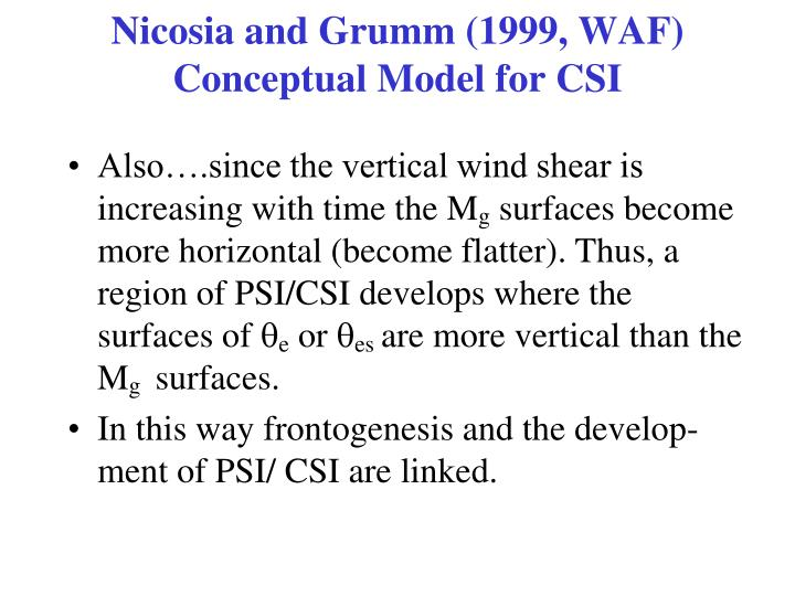 Nicosia and Grumm (1999, WAF) Conceptual Model for CSI