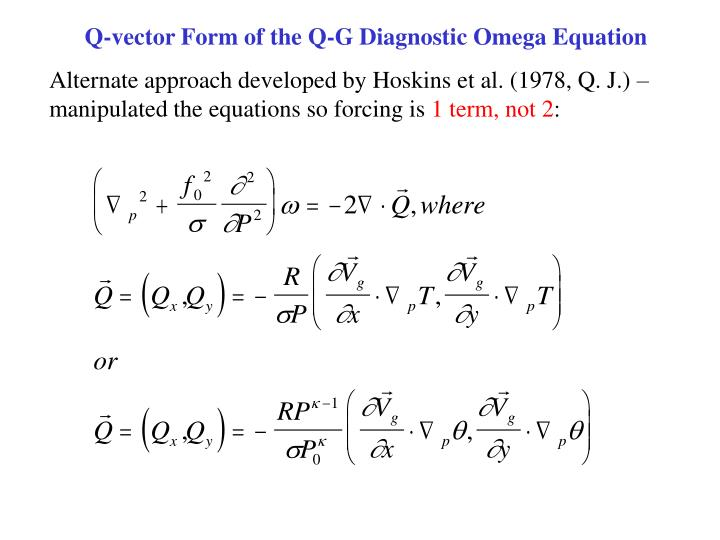Q-vector Form of the Q-G Diagnostic Omega Equation