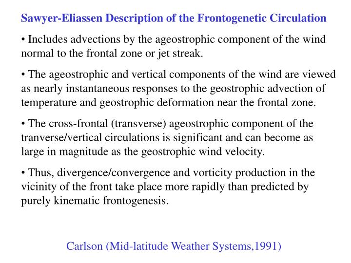 Sawyer-Eliassen Description of the Frontogenetic Circulation