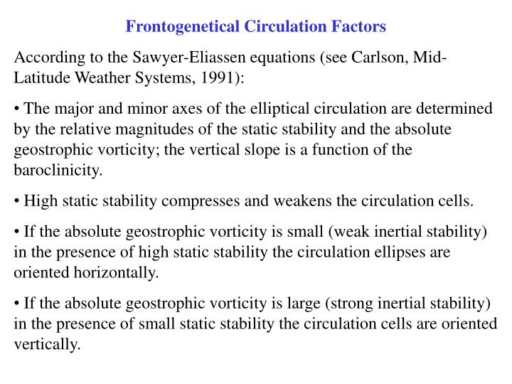 Frontogenetical Circulation Factors