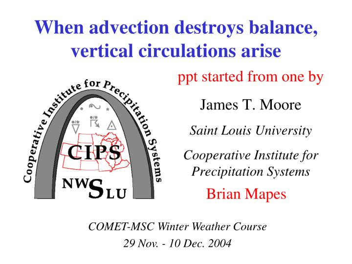 When advection destroys balance vertical circulations arise