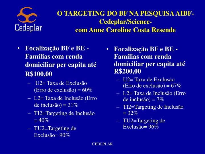 Focalização BF e BE - Famílias com renda domiciliar per capita até R$100,00