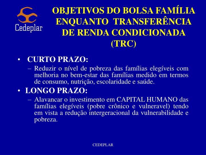 OBJETIVOS DO BOLSA FAMÍLIA ENQUANTO  TRANSFERÊNCIA DE RENDA CONDICIONADA (TRC)