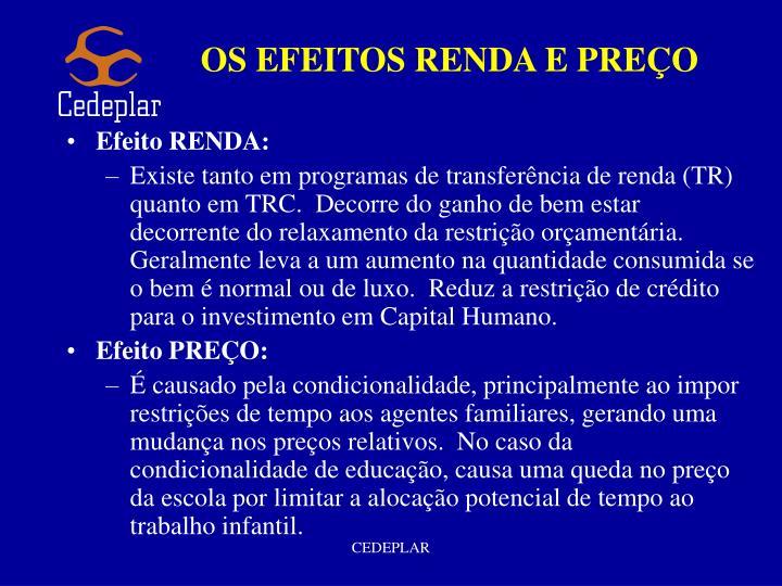 OS EFEITOS RENDA E PREÇO