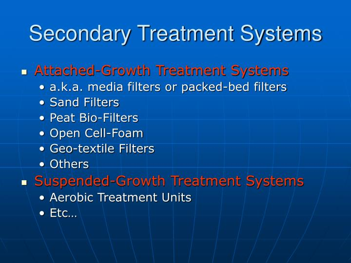 Secondary Treatment Systems