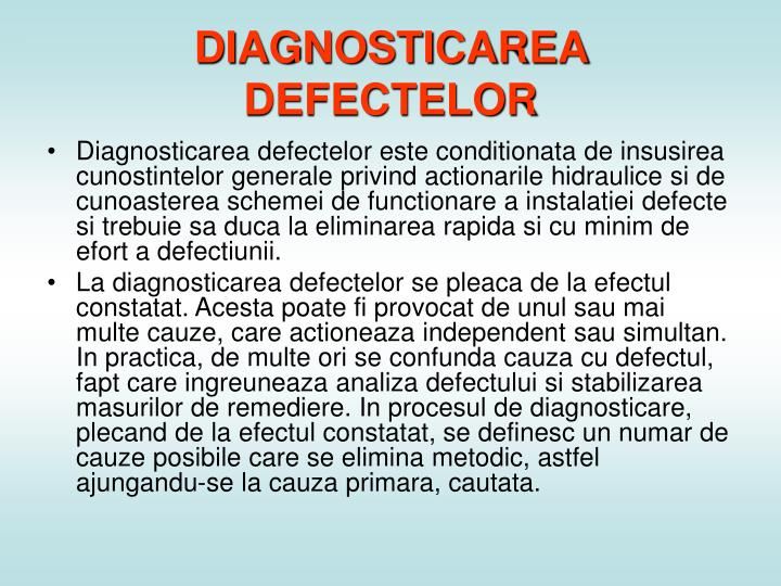 DIAGNOSTICAREA DEFECTELOR
