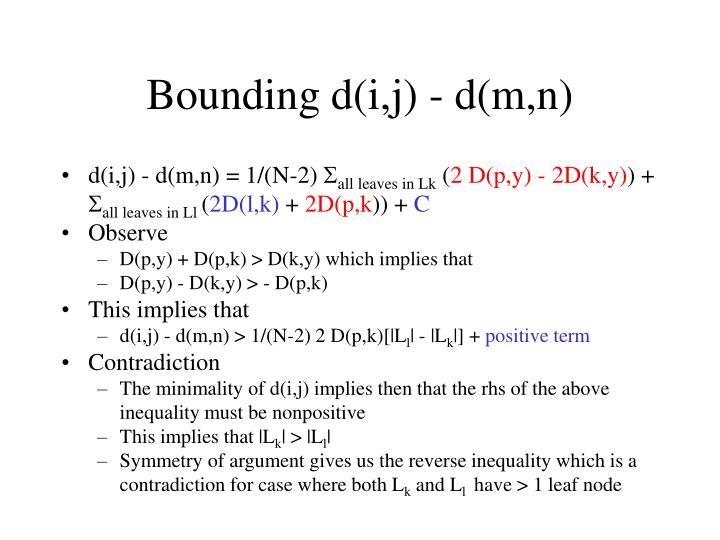 Bounding d(i,j) - d(m,n)