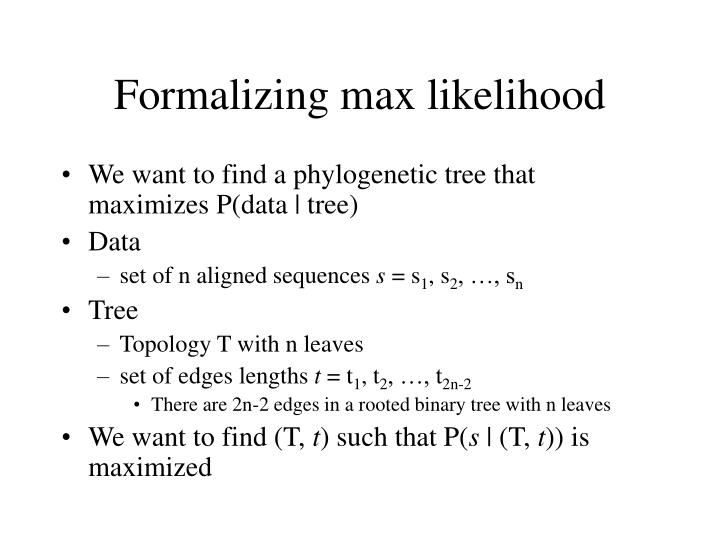 Formalizing max likelihood