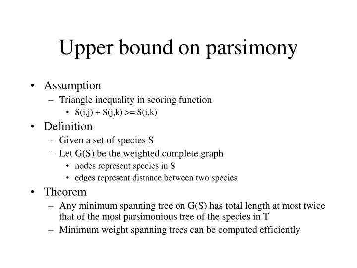 Upper bound on parsimony