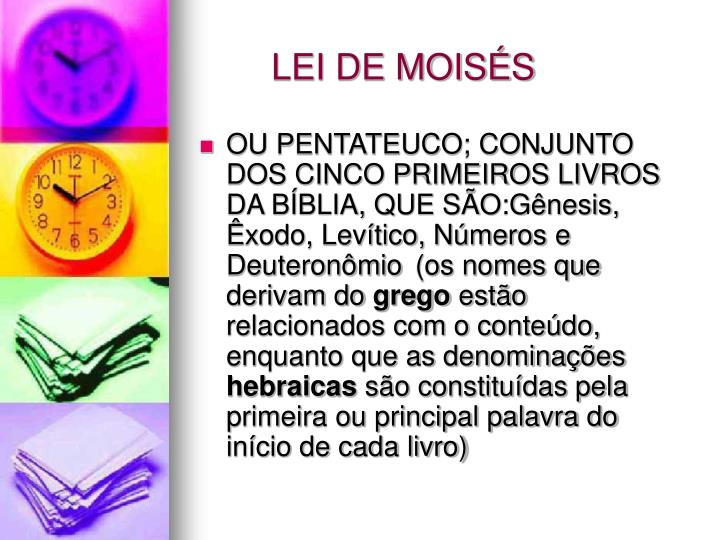 LEI DE MOISÉS