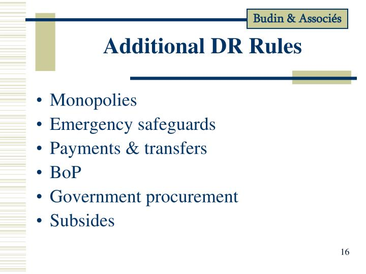 Additional DR Rules