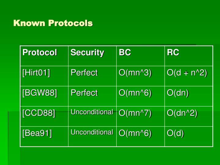 Known Protocols