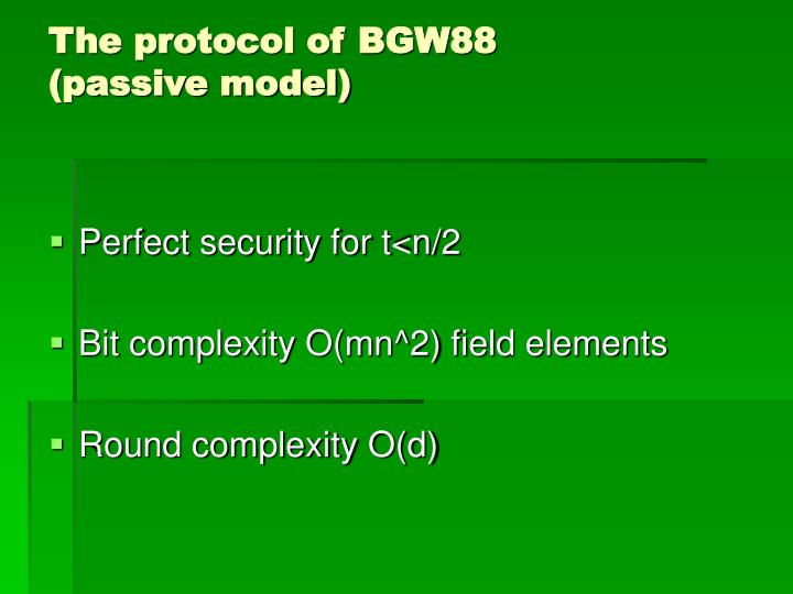 The protocol of BGW88
