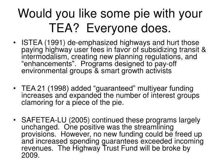 Would you like some pie with your TEA?  Everyone does.