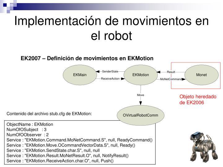 Implementación de movimientos en el robot
