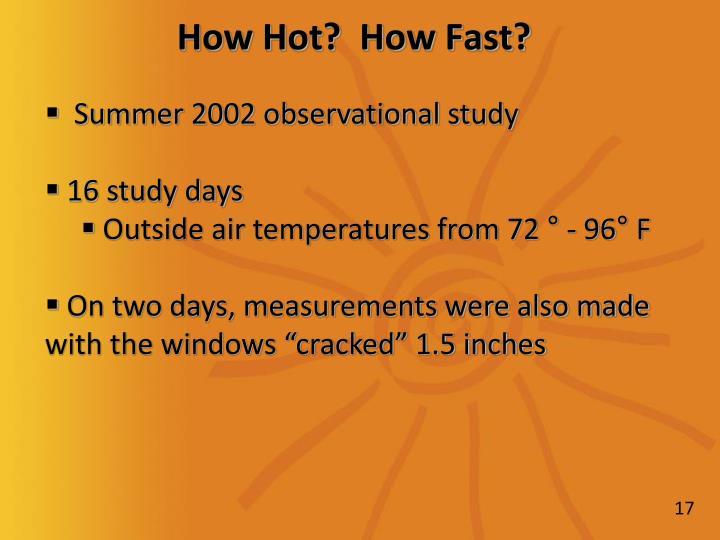 Summer 2002 observational study