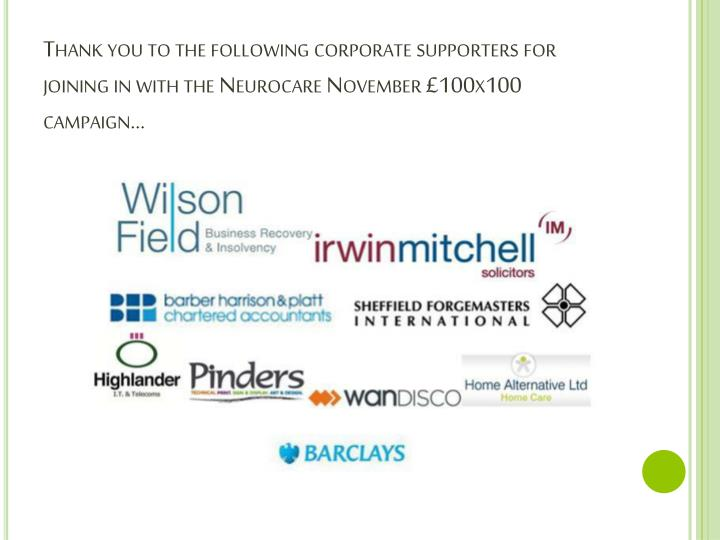Thank you to the following corporate supporters for joining in with the
