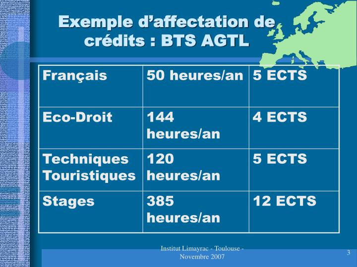 Exemple d affectation de cr dits bts agtl