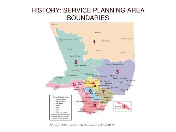 HISTORY: SERVICE PLANNING AREA BOUNDARIES