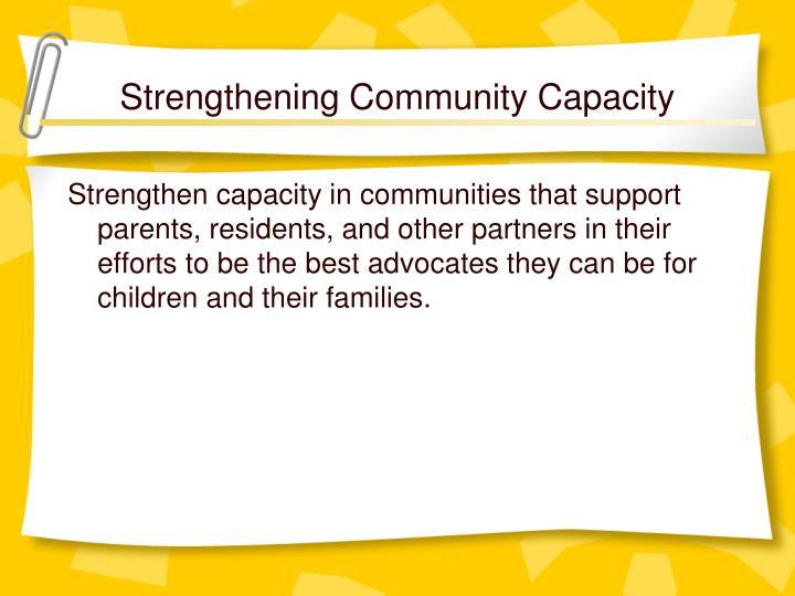 Strengthening Community Capacity