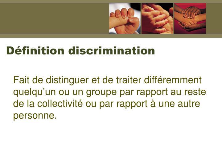 Dfinition discrimination