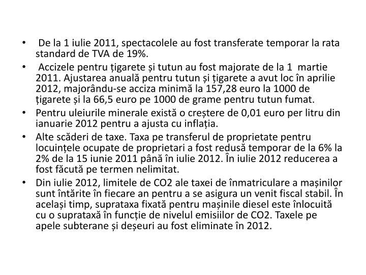 De la 1 iulie 2011, spectacolele au fost transferate temporar la rata standard de TVA de 19%.