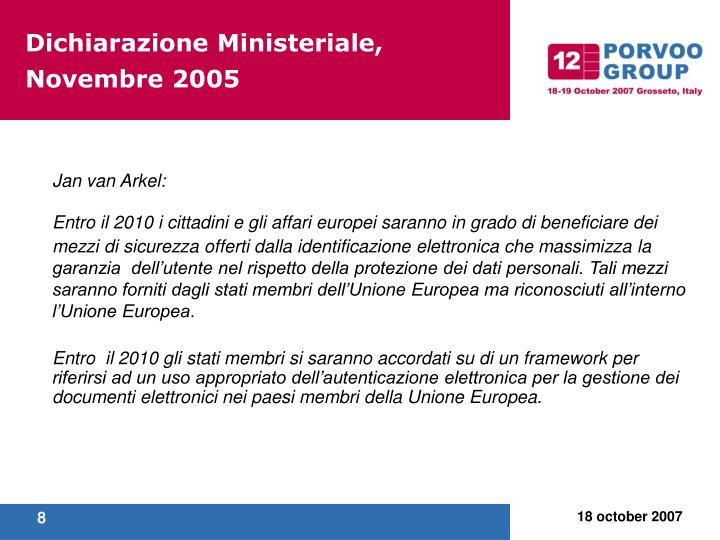 Dichiarazione Ministeriale, Novembre 2005