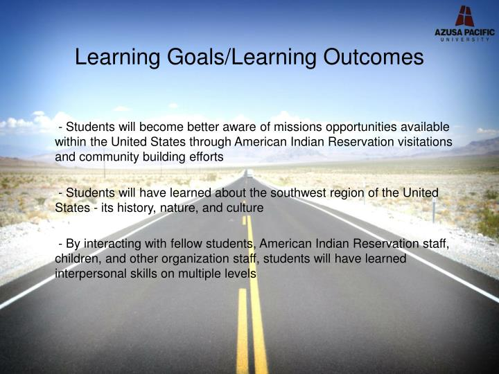 Learning goals learning outcomes