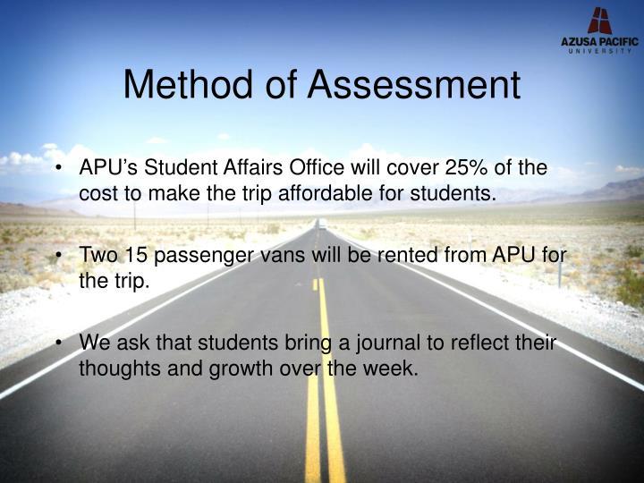 Method of Assessment