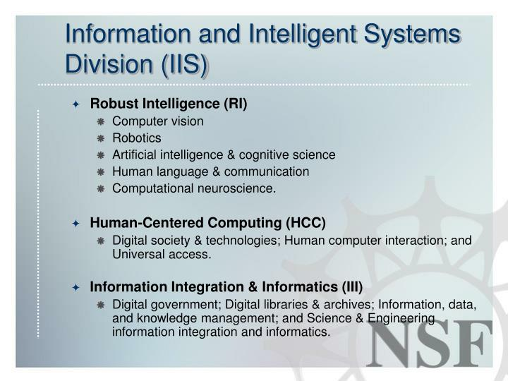 Information and intelligent systems division iis