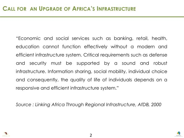 Call for  an Upgrade of Africa's Infrastructure