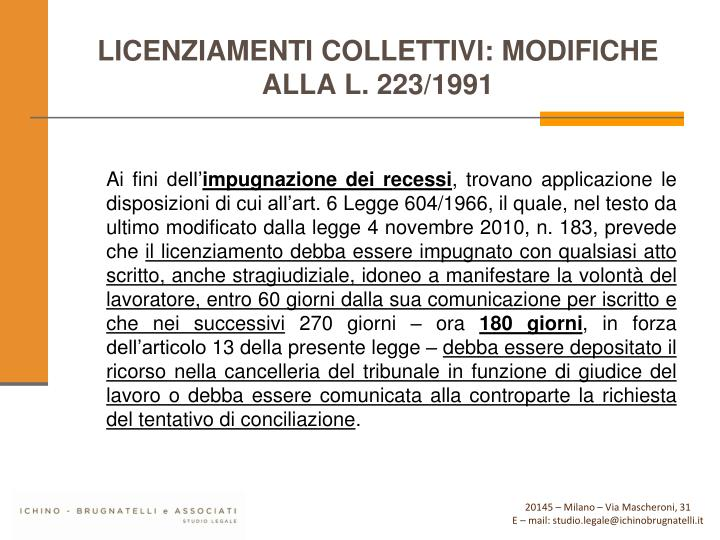 LICENZIAMENTI COLLETTIVI: MODIFICHE ALLA L. 223/1991