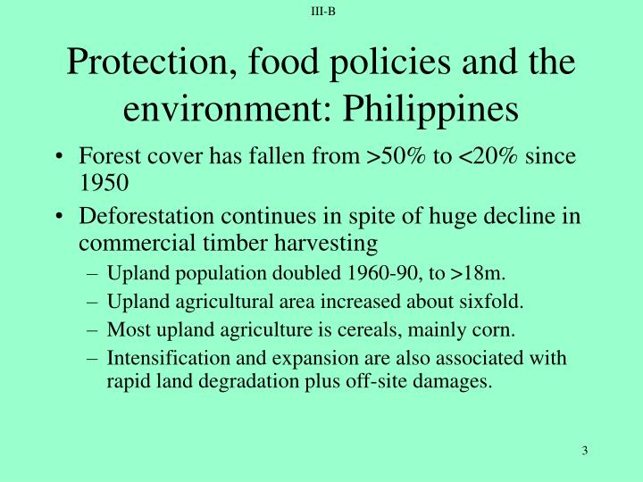 Protection food policies and the environment philippines1