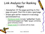 link analysis for ranking pages