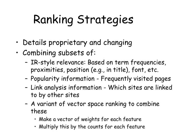 Ranking Strategies