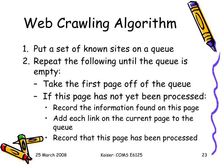Web Crawling Algorithm