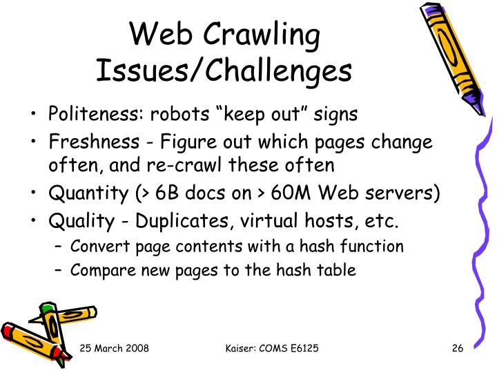 Web Crawling Issues/Challenges