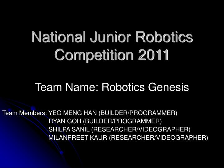 National junior robotics competition 2011