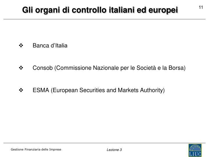 Gli organi di controllo italiani ed europei