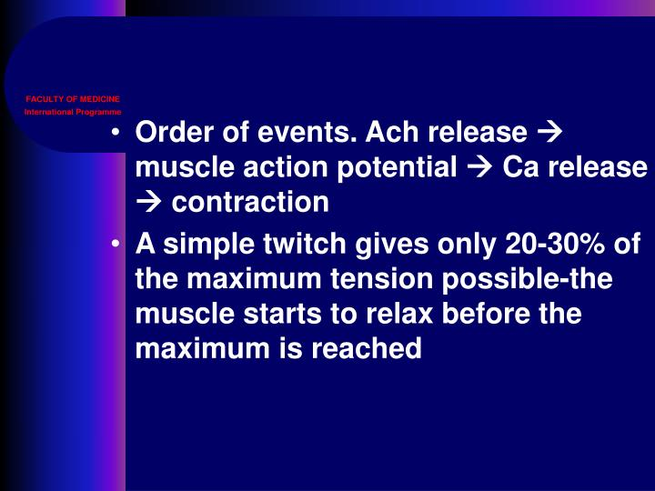 Order of events. Ach release
