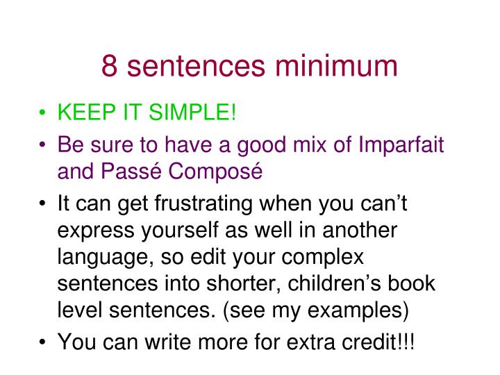 8 sentences minimum