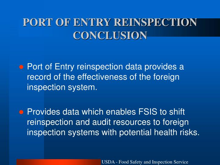 PORT OF ENTRY REINSPECTION