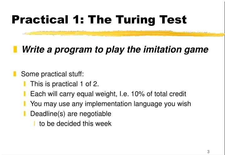 Practical 1 the turing test