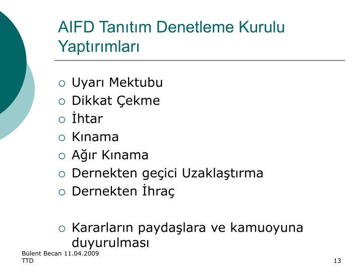 AIFD Tanıtım Denetleme Kurulu Yaptırımları
