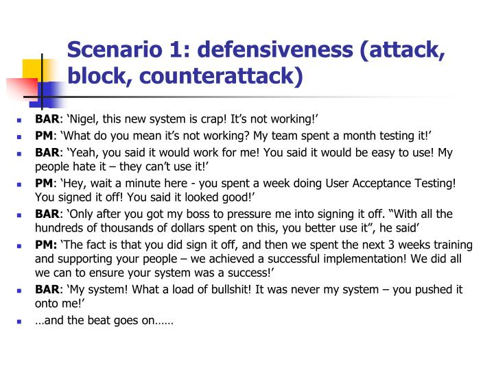 Scenario 1: defensiveness (attack, block, counterattack)