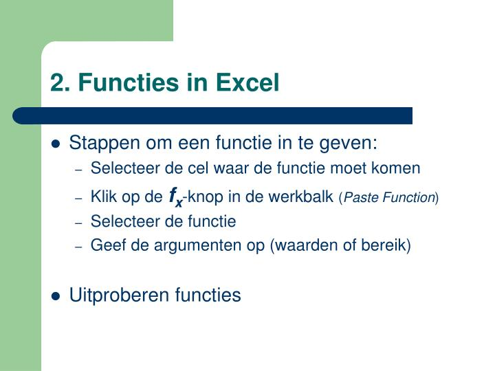 2. Functies in Excel