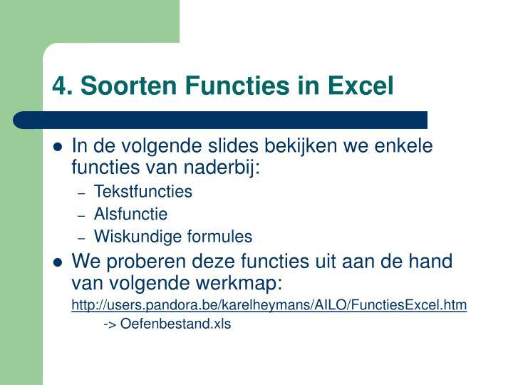 4. Soorten Functies in Excel