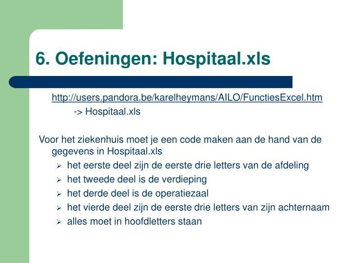6. Oefeningen: Hospitaal.xls