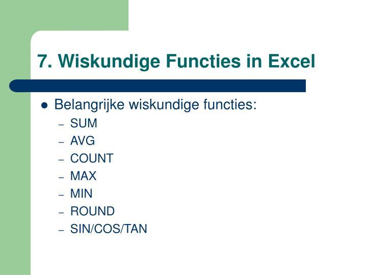 7. Wiskundige Functies in Excel