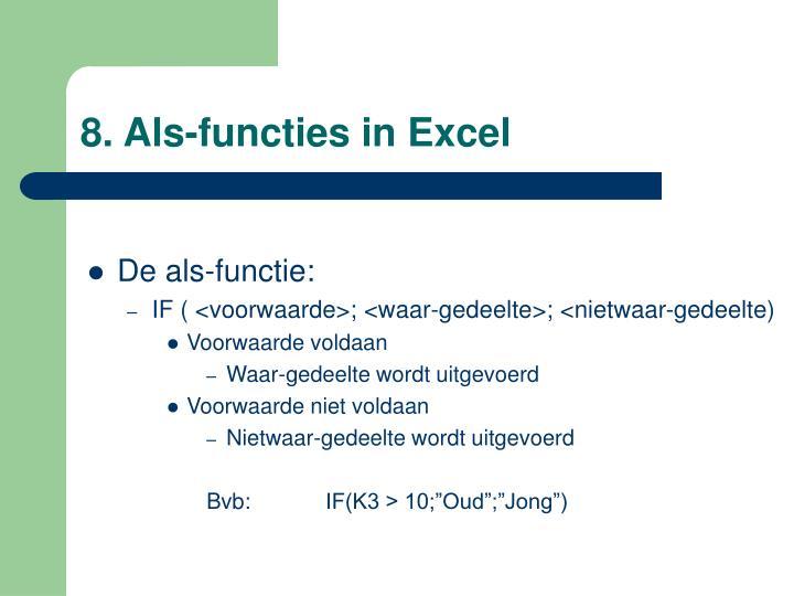 8. Als-functies in Excel